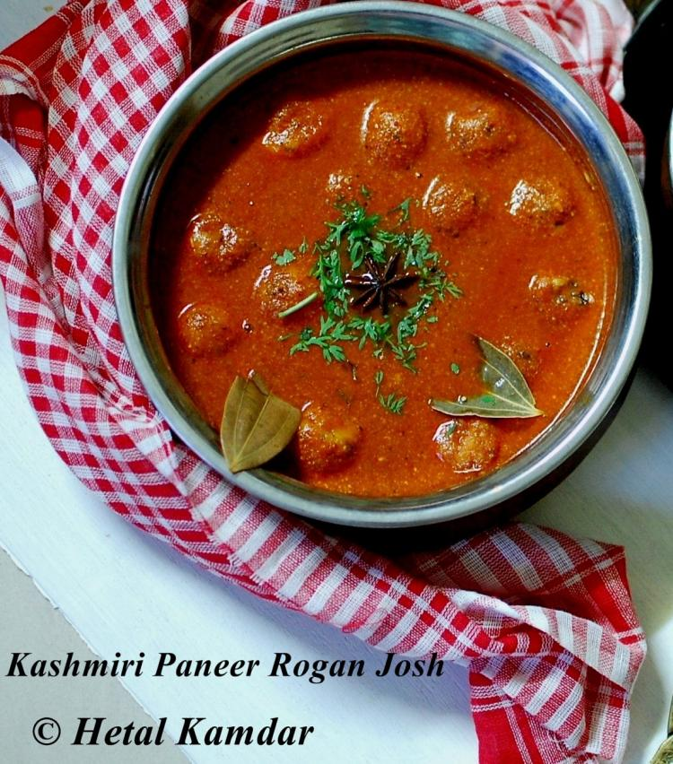 Paneer Rogan Josh Recipe | Paneer cooked in red hot Kashmiri rogan Gravy and garnished with coriander leaves