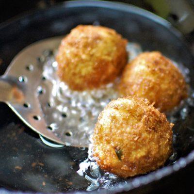 golden brown and crispy cheese corn balls