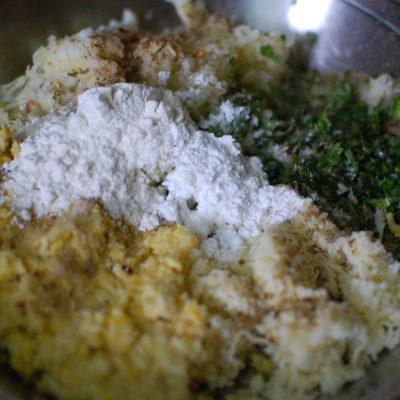 Adding corn flour in cheese corn balls recipe