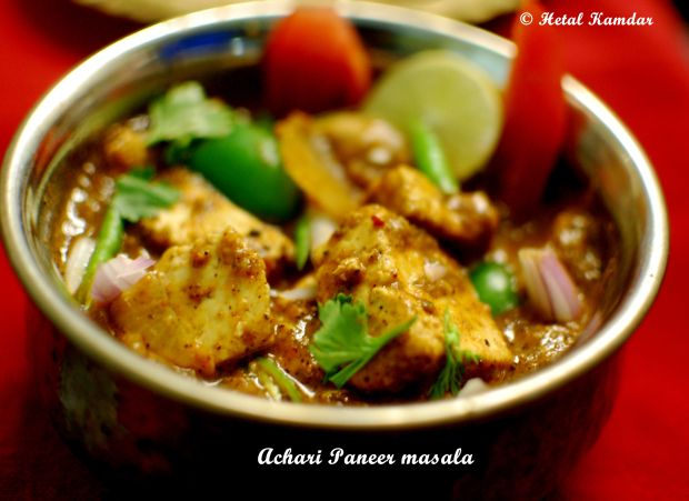 close up view of achari paneer masala recipe