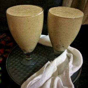 close up view of dates and banana milkshake recipe, navratri milkshake recipe