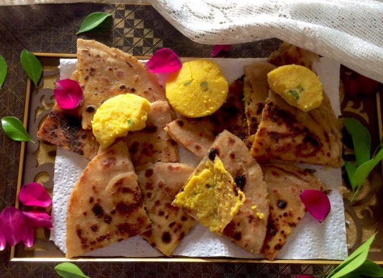 kesar-peda-paratha-sweet-paratha | kesar peda paratha recipe