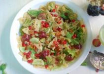 Pasta with veggies and fruit salad with lime honey dressing