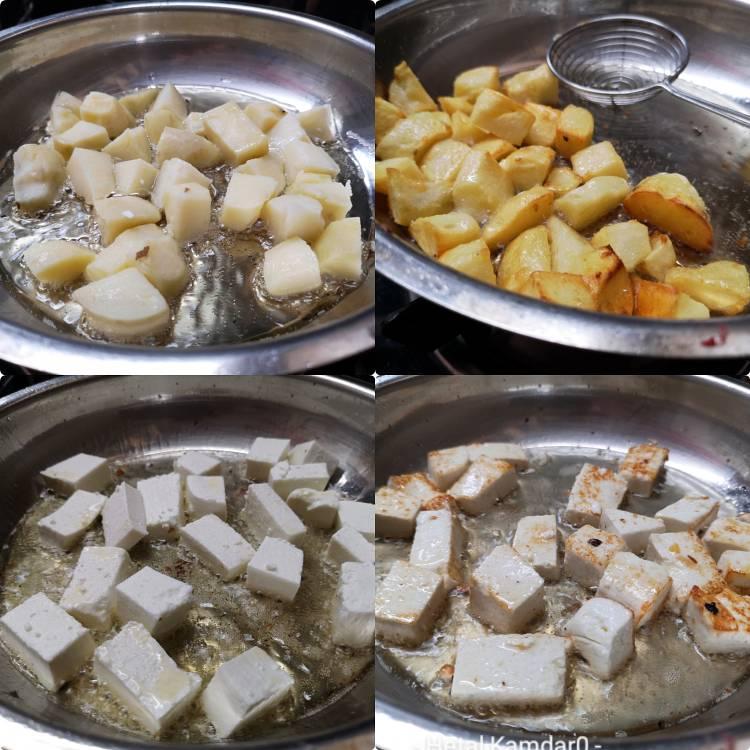 Frying potatoes and paneer cubes in hot oil for preparing aloo paneer recipe , paneer aloo recipe