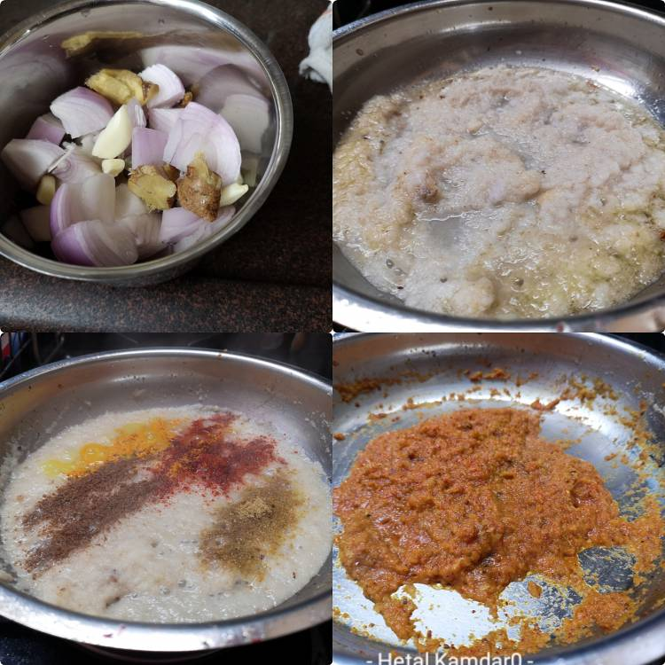 preparing onion, garlic and ginger gravy along with indian spices for preparing aloo paneer recipe, how to make aloo paneer recipe