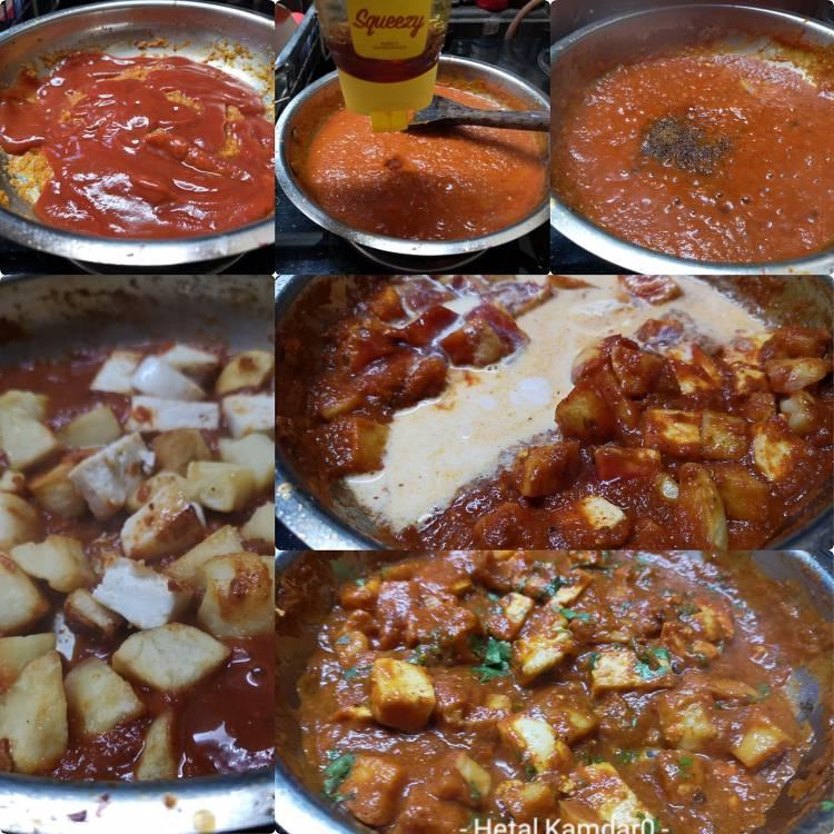 adding tomato puree, honey and fresh cream to the gravy for preparing aloo paneer recipe, paneer aloo recipe