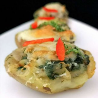 Baked Potatoes with Spinach and Cheese | Baked Potatoes Recipe