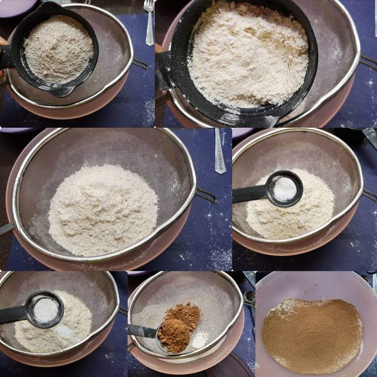 Mixing all-purpose flour, coco powder, baking soda, baking powder, Ragi Flour, Nachni flour together for Chocolate Rage Cake