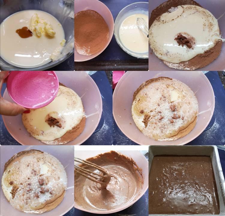 Adding aerated soda, vanilla essence, milk, butter to the dry ingredients for Chocolate Ragi Cake, how to make Chocolate Ragi Cake, Recipe of healthy Nachni Chocolate Cake