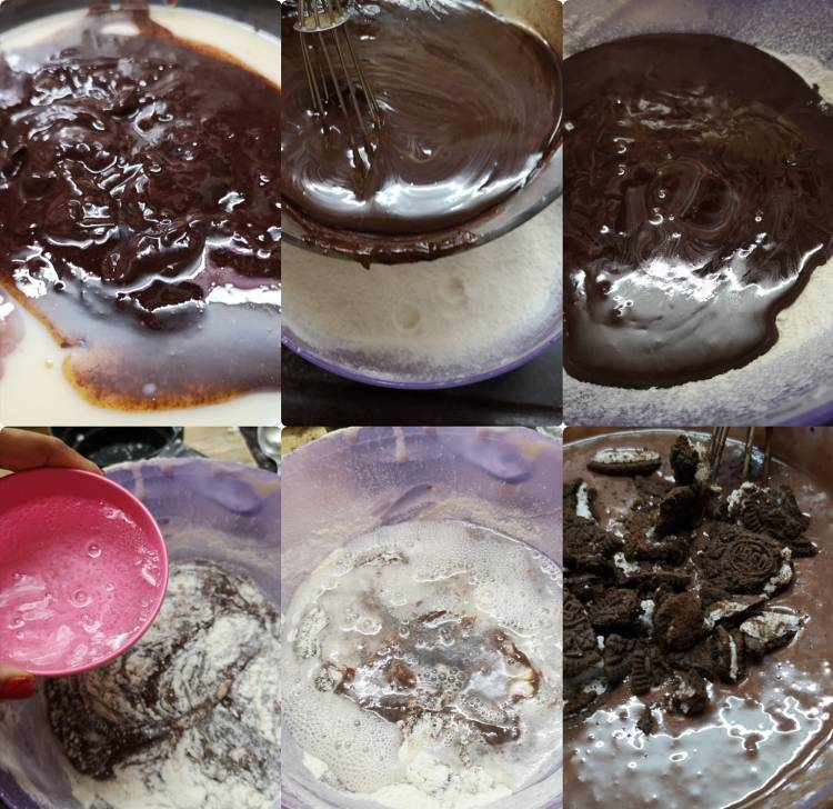 adding chocolate and mixing all the dry ingredients in eggless oreo brownies recipe