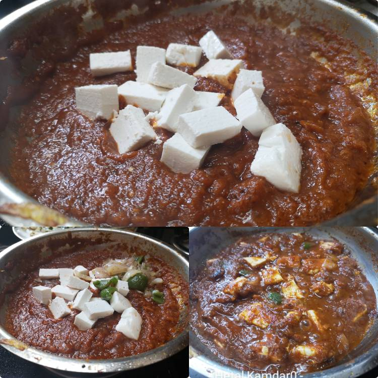 simmer paneer cubes, onion and capsicum in Kadai Paneer Masala | Kadai Paneer Gravy | Kadai Paneer Sabzi