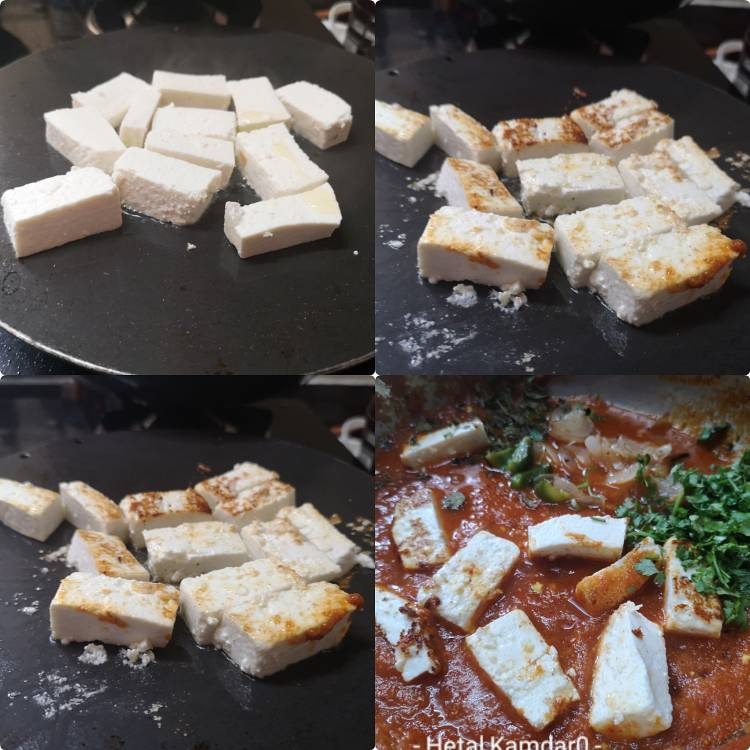 Sauteing Paneer Cubes for restaurant style paneer jalfrezi