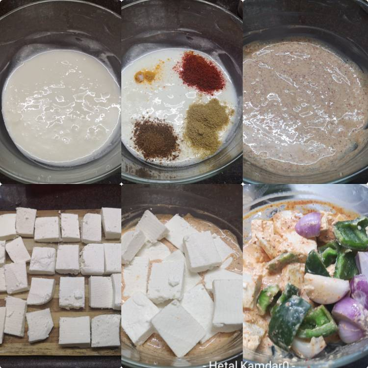paneer, onion and capsicum being marinated in yogurt and spices for preparing paneer tikka masala recipe