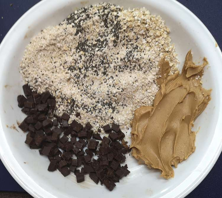 All ingredients ready for peanut butter energy balls recipe