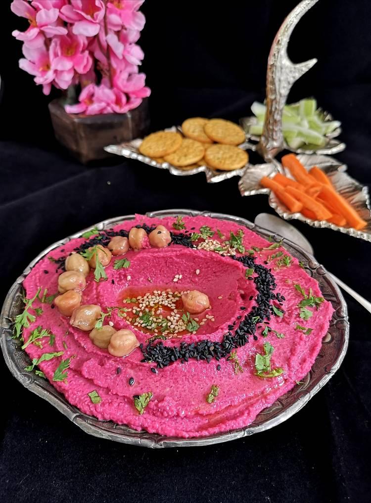 Roasted-Beetroot-Hummus / recipe of roasted beetroot hummus /recipe of hummus