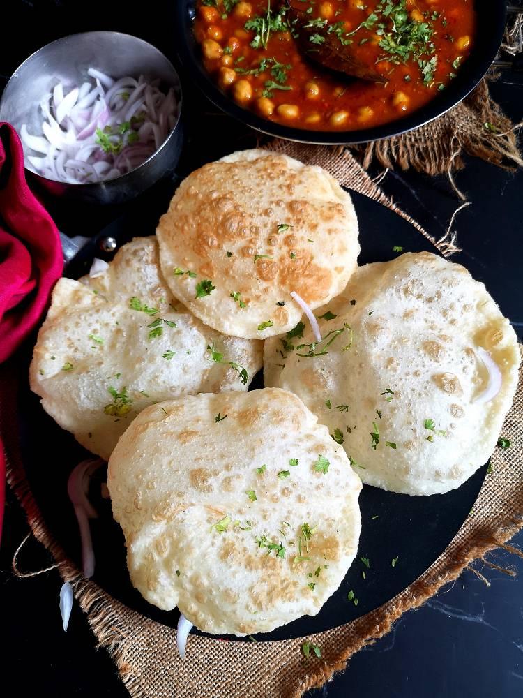 Close up view of Chole Bhatura | Bhatura Recipe