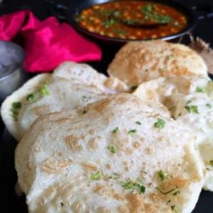 close up view of crisp and hot bhatura