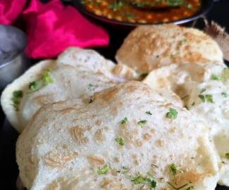 close up view of crisp and fluffy bhatura