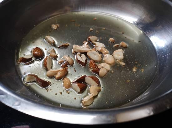 Roasting dry fruits for Rajgira Sheera Recipe