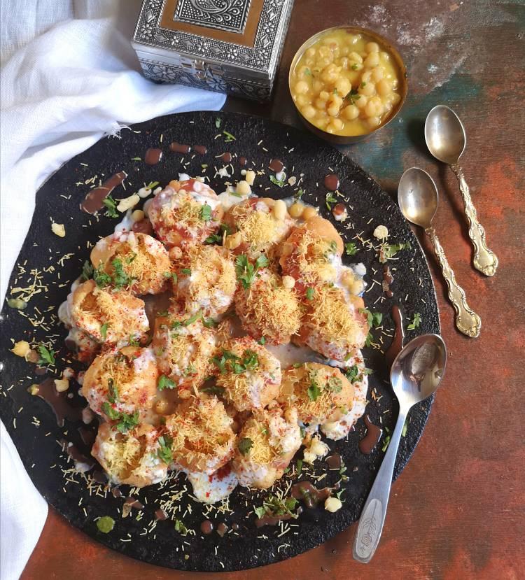 Indian Street Food | top view of dahi ragda puri served with ragda