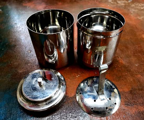 Metal device for Filter coffee recipe, Traditional South Indian Filter Coffee Recipe, south Indian filter coffee