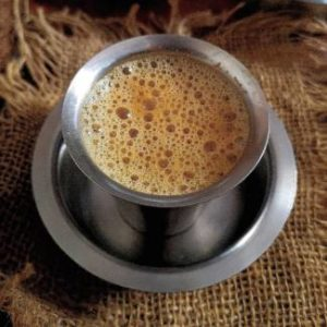 close up top image of south indiian filter coffee
