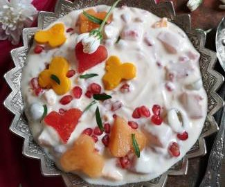 close up view of fruit cream recipe