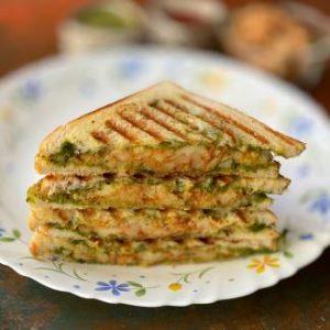 slices of Aloo stuffed chutney Sandwich ,Grilled Potato Sandwich Recipe