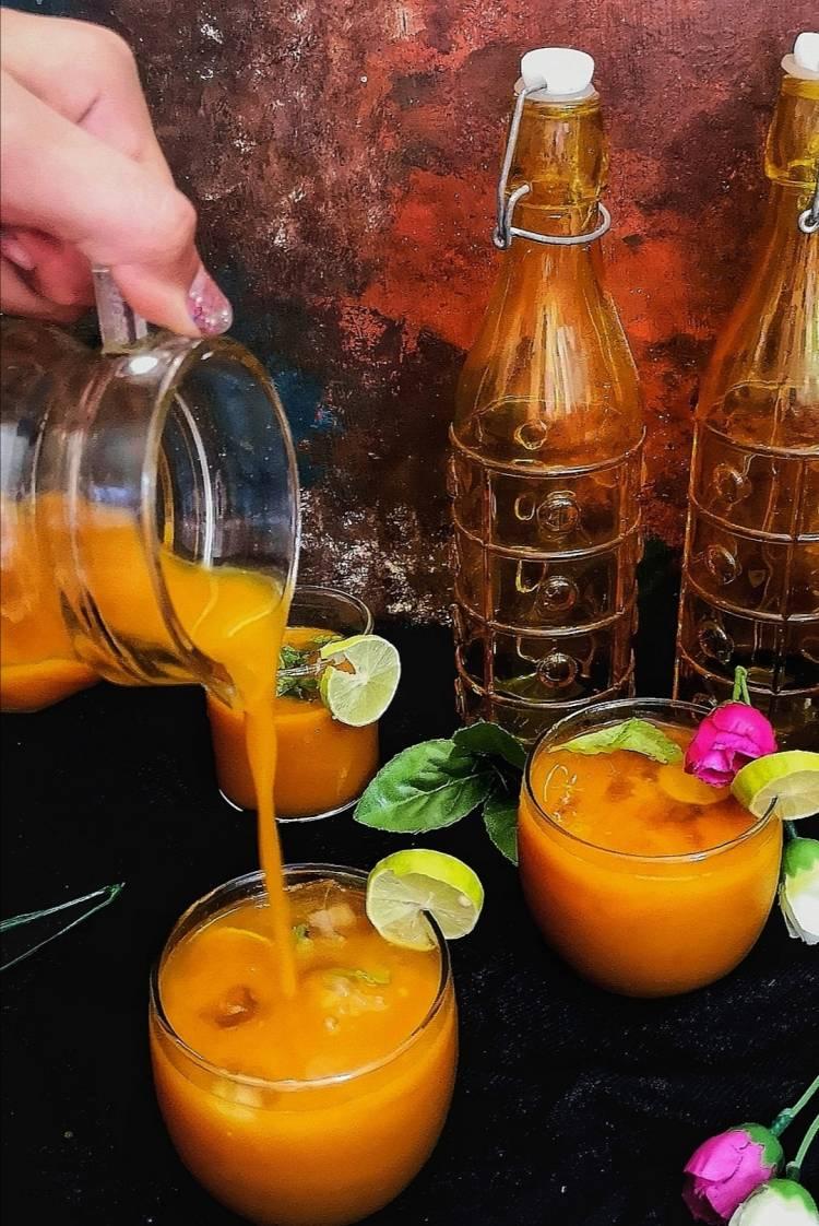 mango icea tea / recipe of mango ice tea / Alphonso iced tea recipe / how to make mango iced tea at home