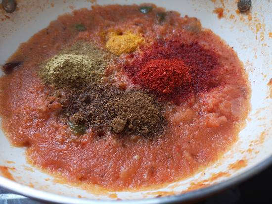 Adding Spices in Mix Veg Curry, mix veg recipe
