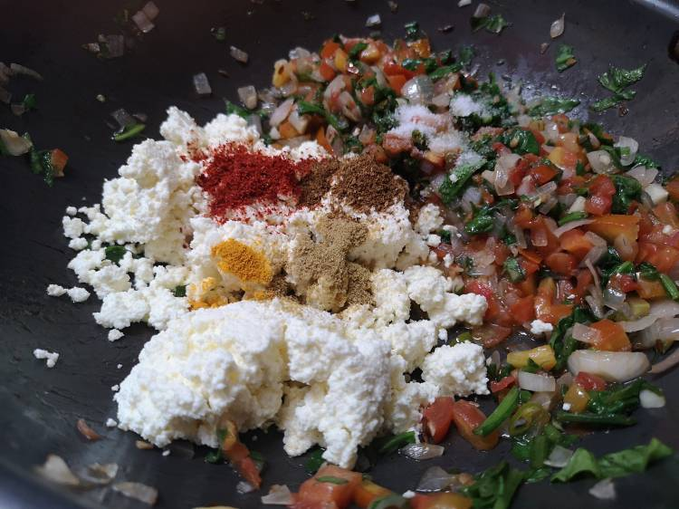 how to make palak paneer bhurji / recipe of paneer palak bhurjee / how to make Spinach Cottage Cheese Scramble