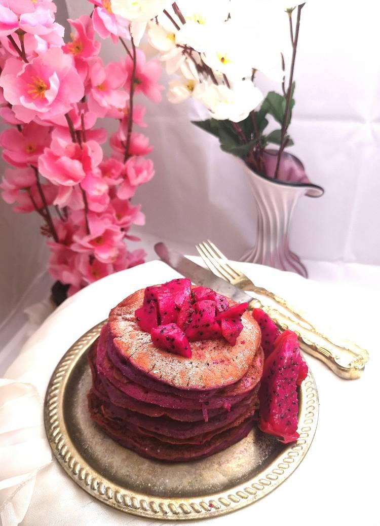 Stack of Pitaya Pancakes , Recipe of Dragon Fruit Pancakes ,Pink Pitaya Pancakes recipe