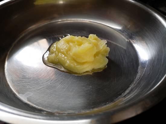 Adding Ghee for Rajgira Sheera Recipe
