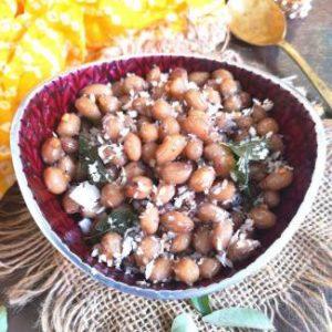 close up view of Peanut Sundal | verkadalai sundal | nilakadalai sundal