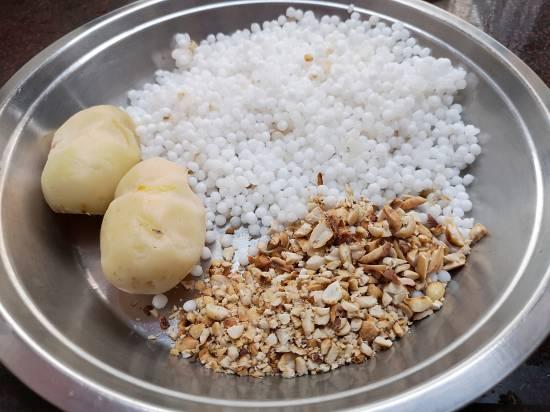 Soaked Sabudana pearls, boiled and peeled potatoes and crushed peanuts for Sabudana Tikkis