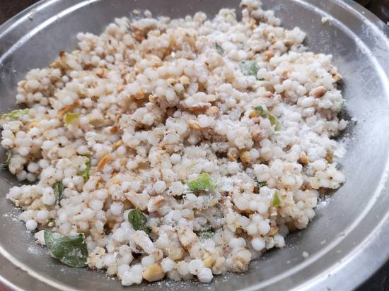 mix of sabudna, boiled pototoes, crushed peanuts and spices along with Amaranth flour for Sabudana Tikkis