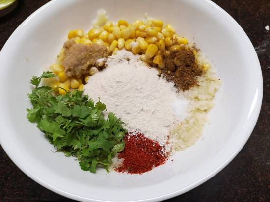 ingredients for sweet corn tikkis ready to mix