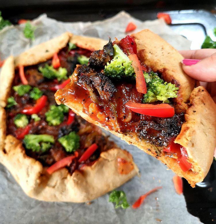 recipe of broccoli and red bell pepper galette recipe