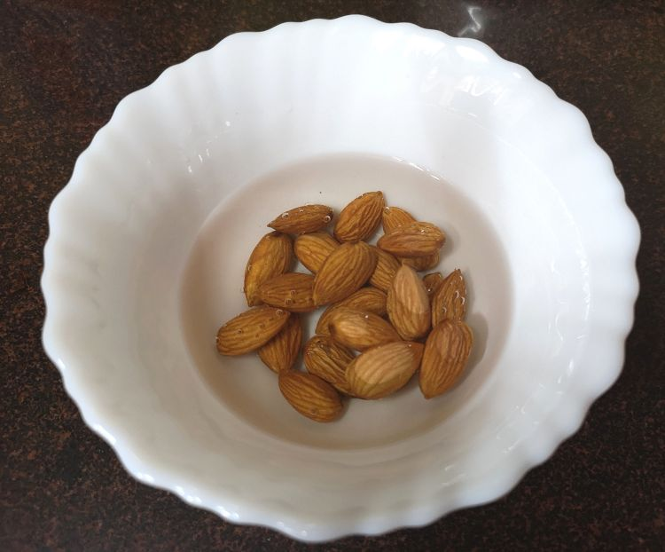 soaking almonds for kesar badam doodh, saffron almond milk recipe