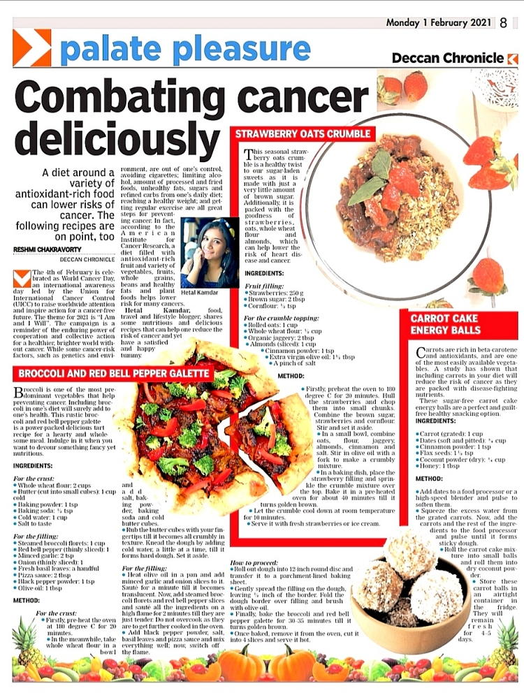 Deccan Chronicle feature, combating cancer deliciously