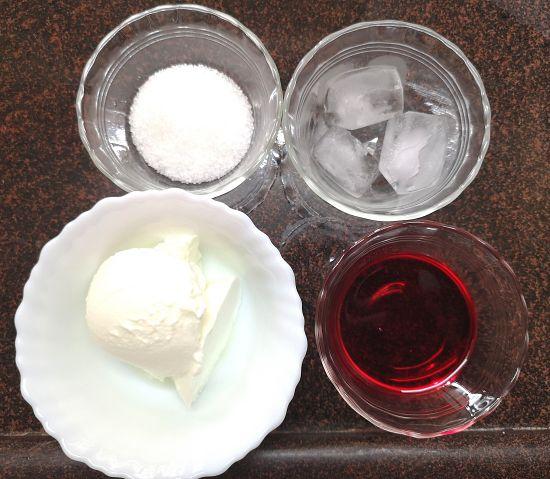 yogurt, sugar,ice and rose syrup for rose lassi recipe