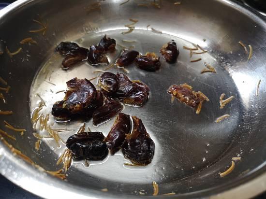 frying dates in ghee for sheer korma
