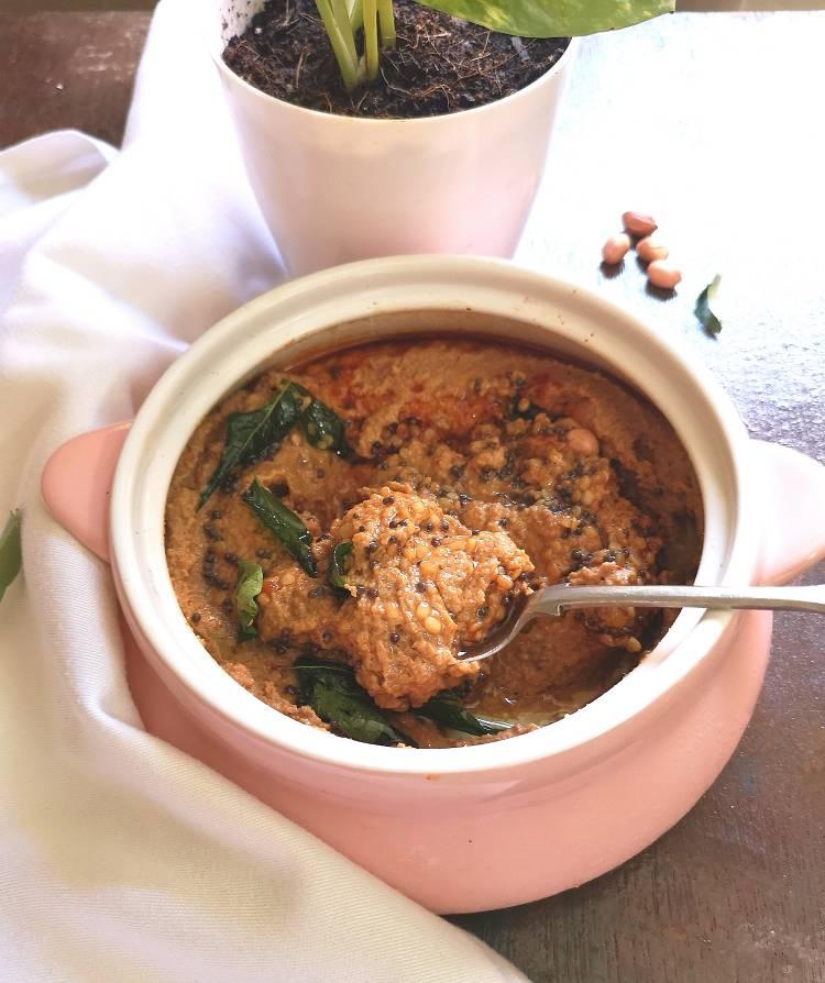 Peanut Chutney, Groundnut Chutney Recipe, Andhra style Peanut chutney