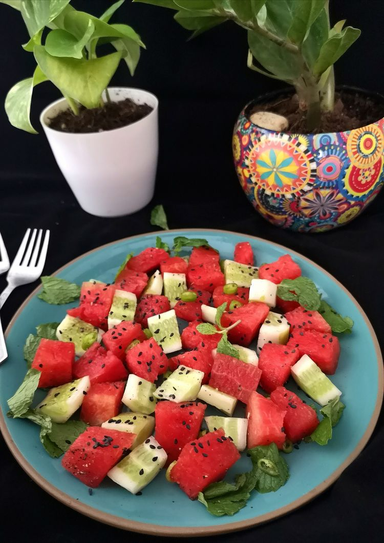 Close up view of watermelon cucumber salad, how to make watermelon cucumber salad