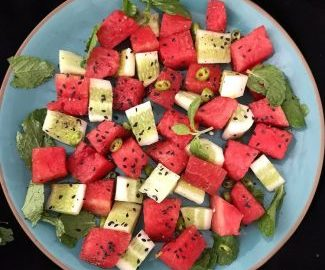 Close up image of watermelon cucumber salad recipe,how to make watermelon cucumber salad